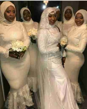 Checkout This Lovely Muslim Bridal Train And Their Hijab